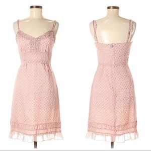 Anna Sui delicate pink silk print dress size 2